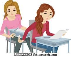 Sly Teen Girls Cheating Exam