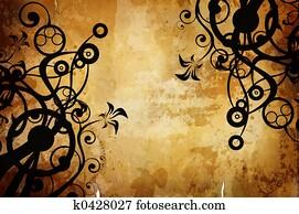 warm vintage background with dark border