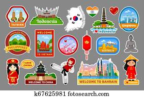 Big collection of travel stickers, symbols, landmarks of the Asia.