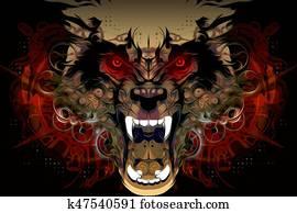 Bloody werewolf background