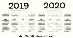 Calendario 2019 2020.Spanish Calendar 2019 2020 2021 Vector Template Clipart K63564092