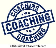 coaching blue round grunge stamp