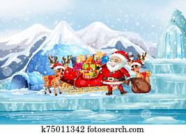 Scene with Santa and reindeers