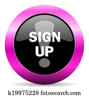 sign up pink glossy icon