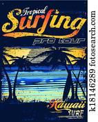 tropische, surfen