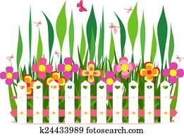 zaun, mit, frühjahrsblumen