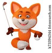 3d illustration funny little Fox play golf