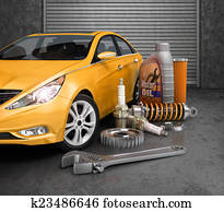 Auto parts with beautiful car in garage.