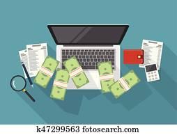 geld verdienend, online, und, kosten, steuerung, begriff