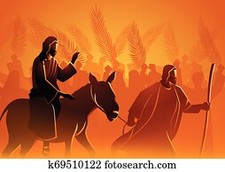 jesus, kommt, to, jerusalem, als, koenig