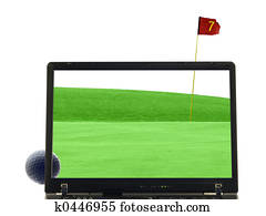 laptop isolated with putting green in background