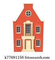 Urban retro colonial style building cartoon