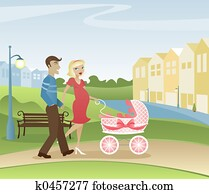 Parents Strolling in the Park