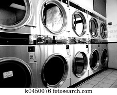 Retro Laundromat BW