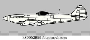 Supermarine SPITFIRE Mk XII. Outline vector drawing