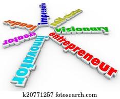 Entrepreneur 3d Words Business Person Start Company Venture