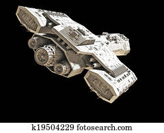 Spaceship on black rear angled view