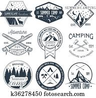Vector set of camping labels in vintage style. Summer camp outdoor adventure concept illustration.