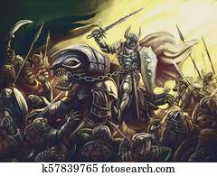 A knight on a dragon against an army of demons