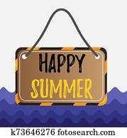 Conceptual hand writing showing Happy Summer. Business photo showcasing Beaches Sunshine Relaxation Warm Sunny Season Solstice Board attach string color black yellow frame rectangle shape.