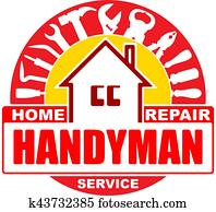 Handyman home repair services. Round vector design for your logo or emblem with home and set of workers tools. There are wrench, screwdriver, hammer, pliers, scrap. Red and yellow gamma.