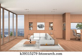 modern living room and dining room interior with beech wood
