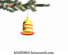 Christmas bell. 3D.