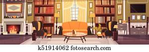 Cozy Living Room Interior Design With Furniture, Sofa, Table Armchairs, Fireplace Bookcase, Horizontal Banner