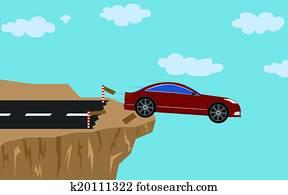 Crash car with man