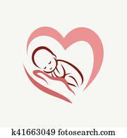 newborn baby lying on the hand symbol, childbirth and parenthood
