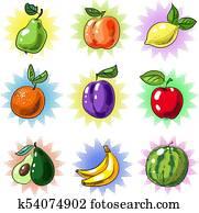 Vector vintage pop art fruit patch or sticker set