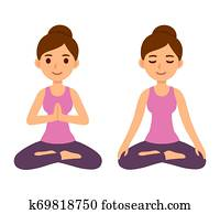 woman sitting on floor meditating in yoga lotus pose with