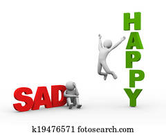 3d sad man and happy person