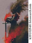 dark warrior with the sword