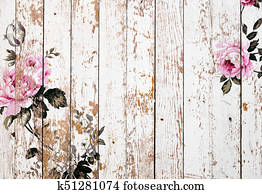 Shabby chic roses on wooden texture