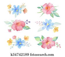Watercolor colored bouquets of flowers.