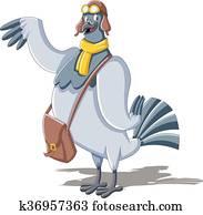 Clipart pigeon voyageur k10481517 recherchez des - Voyageur dessin ...