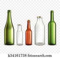 Glass bottles transparent