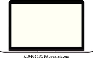 mock up personal laptop computer on white background vector design