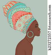 Portrait of beautiful African woman in turban