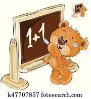 vektor, abbildung, von, a, braun, teddyb?r, gleichfalls, stehen, per, dass, tafel, und, gleichfalls, schreibende, auf, ihm, mit, tafelkreide