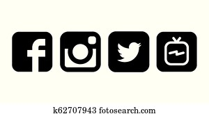 Collection of black and white popular social media logos printed on white paper