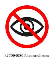 Forbidden look sign on white background - vector