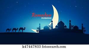 Ramadan Kareem. Ramadan Mubarak. Greeting card. Arabian night with Crescent moon and camel.