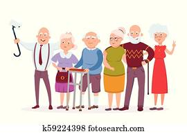 Set of cheerful senior people hipsters gathering and having fun, old men and women make selfie vector cartoon characters. Funny Elderly vector concept illustration in flat design isolated on white