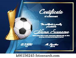 Soccer Certificate Diploma With Golden Cup Vector. Sport Graduate Champion. Best Prize. Winner Trophy. A4 Horizontal. Event Illustration