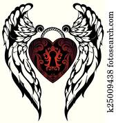 Angel wings. Love tattoo
