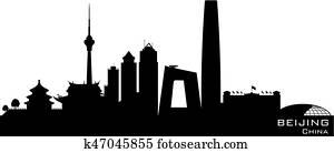 beijing, china, stadt skyline, vektor, silhouette