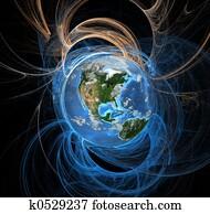 energie, fields,, erde, westen