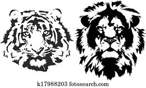 lion and tiger heads in black